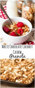 A wholesome and tasty granola - made using delicious homemade white-chocolate-coconut-cashew-butter.