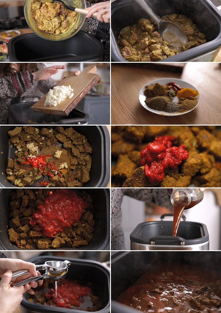 10 image collage showing how to make lighter slow cooked beef curry