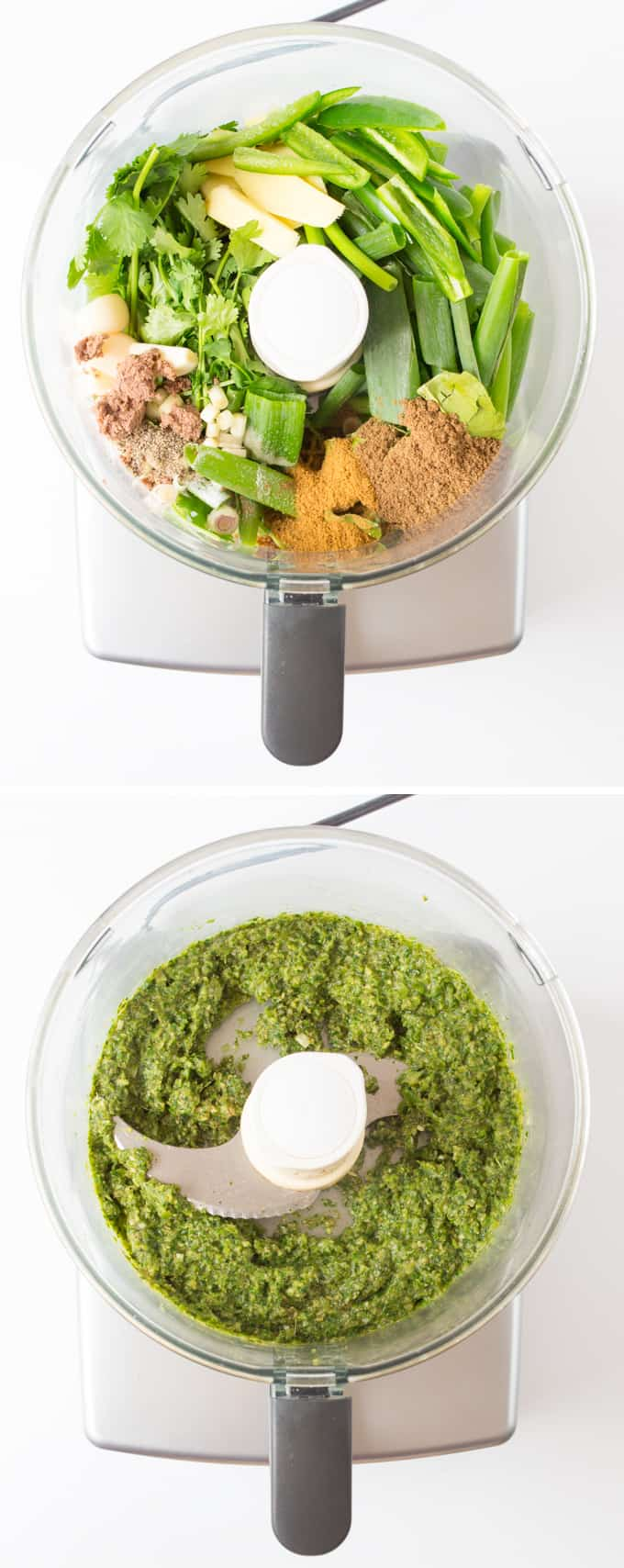 Process of making Thai Green Curry Paste in a blender