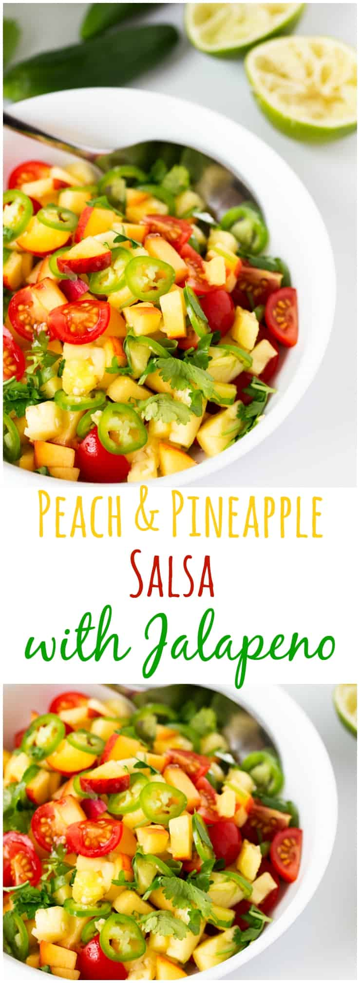 Peach and Pineapple Salsa with a Jalapeño kick.
