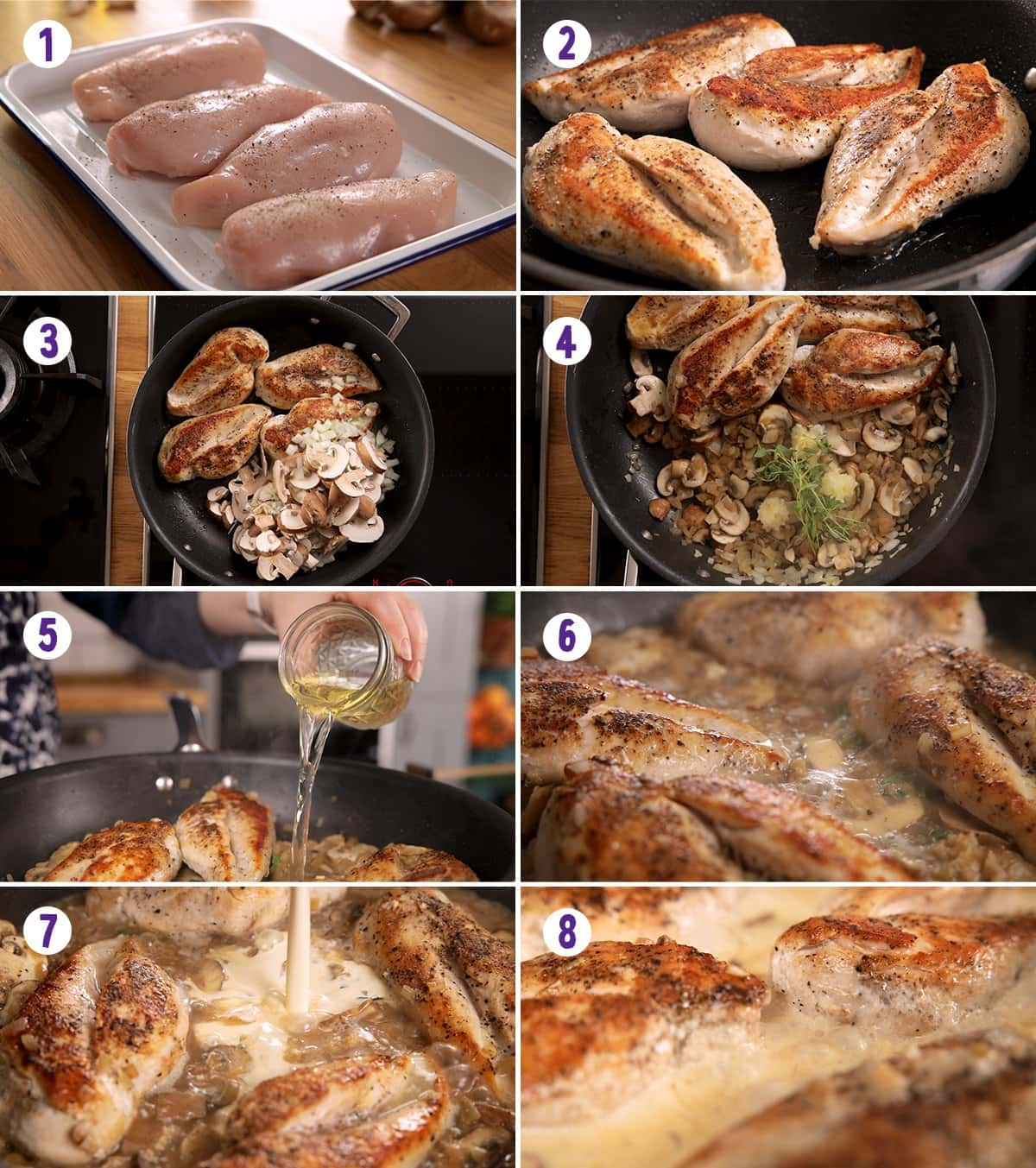 8 image collage showing how to make chicken in creamy white wine sauce
