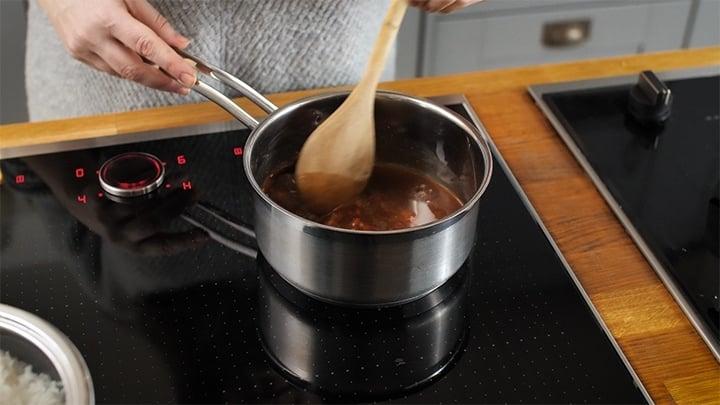 Tonkatsu sauce simmering in a pan