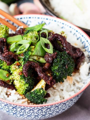 My take on Mongolian Beef - Crispy strips of steak in a sweet-soy sauce with some extra veg thrown to up the health factor!