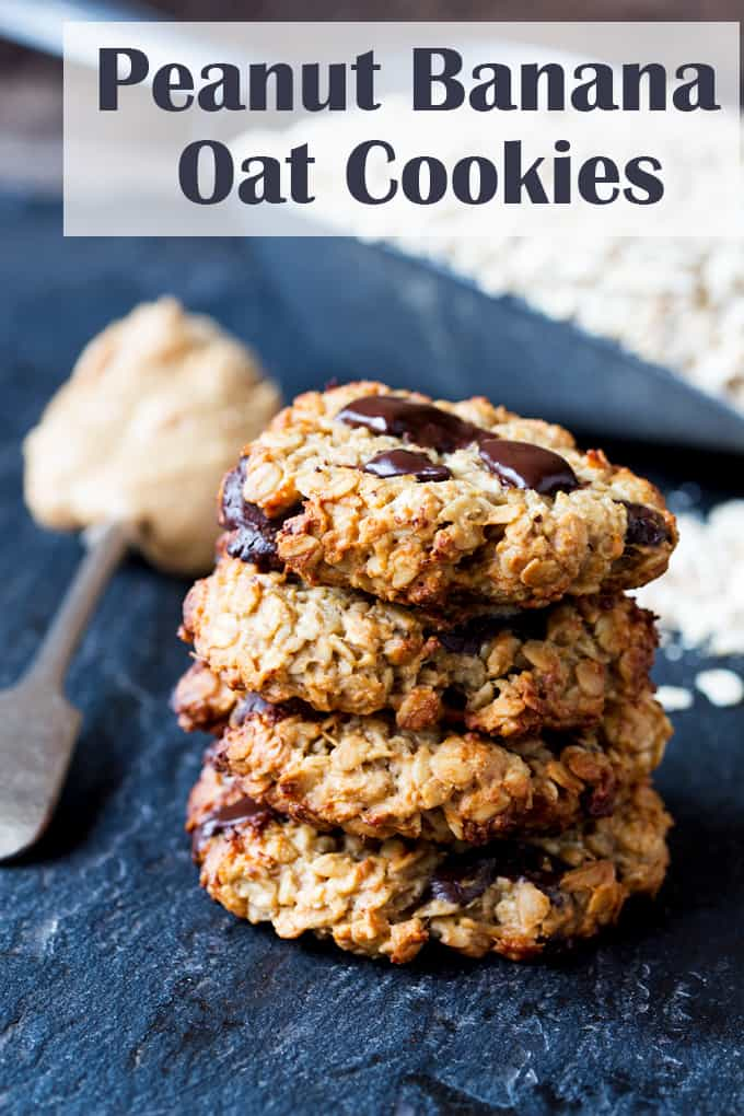 Peanut Banana Oat Cookies - egg, flour, butter free. No added refined sugar. So simple to make!