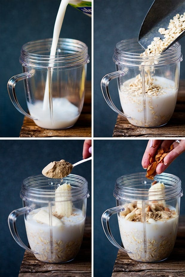 The Process of Making White Chocolate Coconut Cashew Hot Smoothie