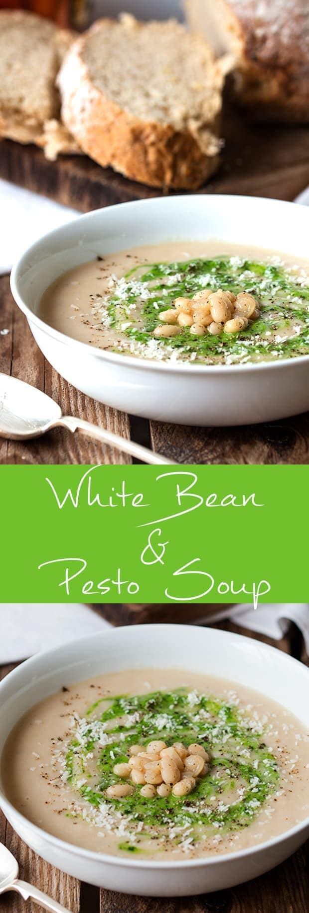 A warming, creamy, white bean soup, swirled with pesto and parmesan.