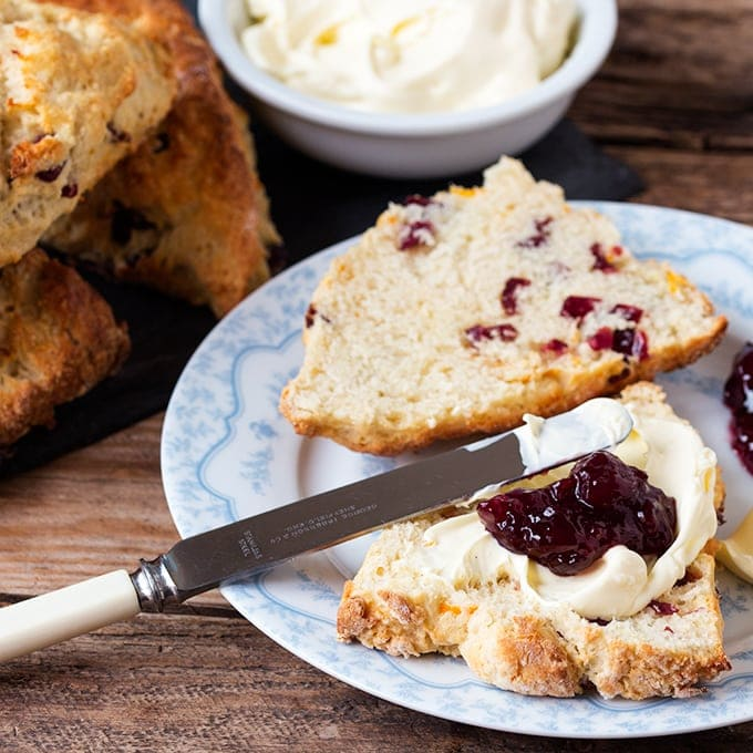 Cranberry and Orange Scones - Zesty, light and fluffy. So good with a dollop of clotted cream!