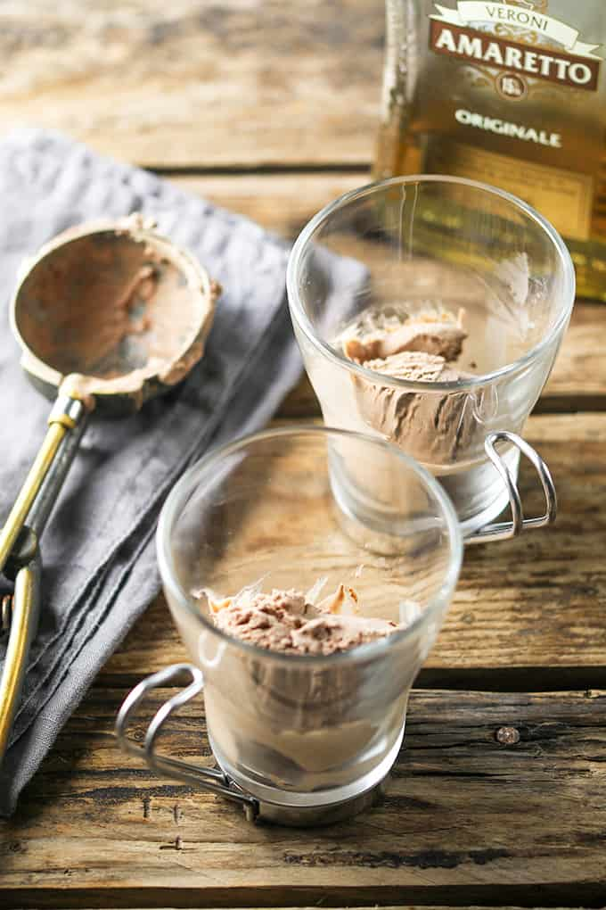Chocolate and Amaretto Affogato - A boozy dessert-meets-coffee with a scoop of chocolate ice cream.