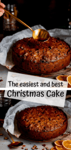 Two image collage of fruit Christmas cake with a text overlay