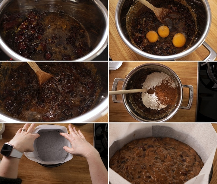 6 image collage of making a fruit christmas cake