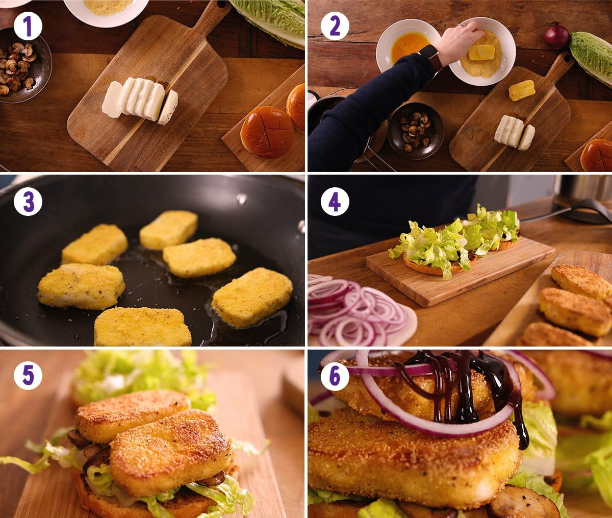 6 image collage showing how to make crispy halloumi burgers