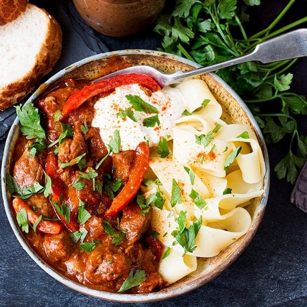 Hungarian Beef Goulash with pappardelle in a stone bowl