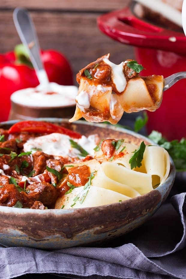 A fork full of pasta and Hungarian Beef Goulash being lifted out of a stone bowl
