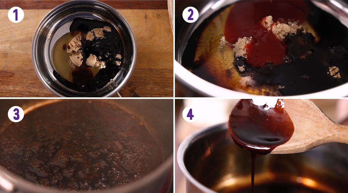 4 image collage showing how to make sticky spicy sauce for my halloumi burger.