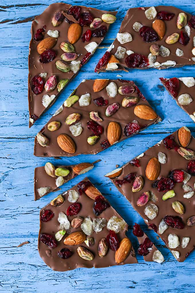 Chocolate Bark - A simple chocolate treat with nuts, cranberries and crystallized ginger - perfect as a homemade Christmas gift or just to enjoy with a glass of wine!