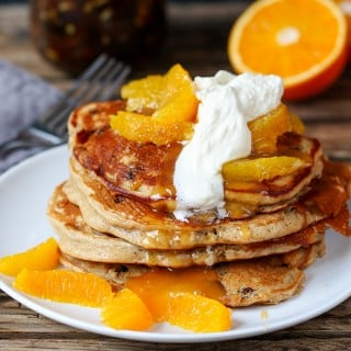 Mincemeat Pancakes with Orange Butter Sauce