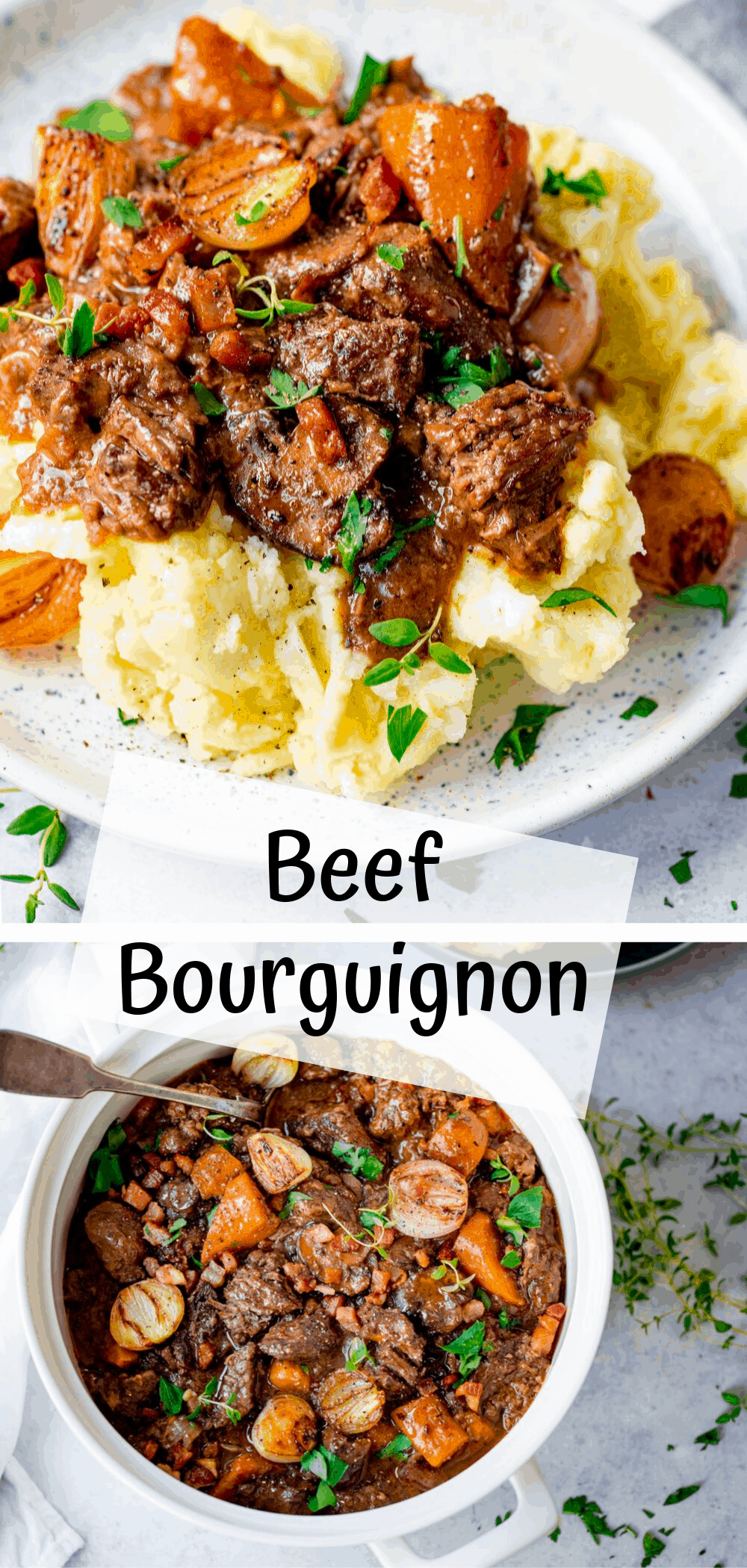 Comforting Beef Bourguignon in a delicious rich sauce
