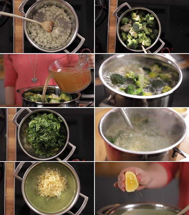 8 image collage showing how to make broccoli soup