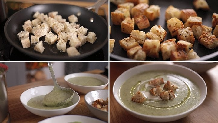 4 image collage showing the making of croutons and placing on top of broccoli soup