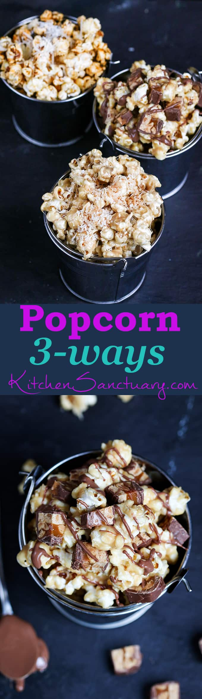 Popcorn 3-ways - Snickers, Marshmallow & Coconut and Savoury Spice.