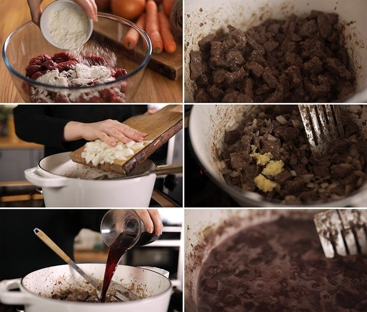 6 image collage showing initial process steps for making scottish beef stew