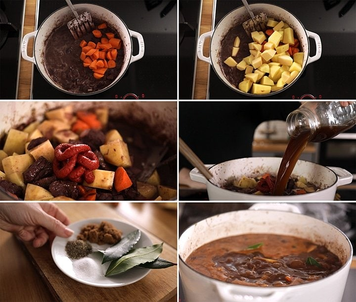 6 image collage showing final process steps for making scottish beef stew
