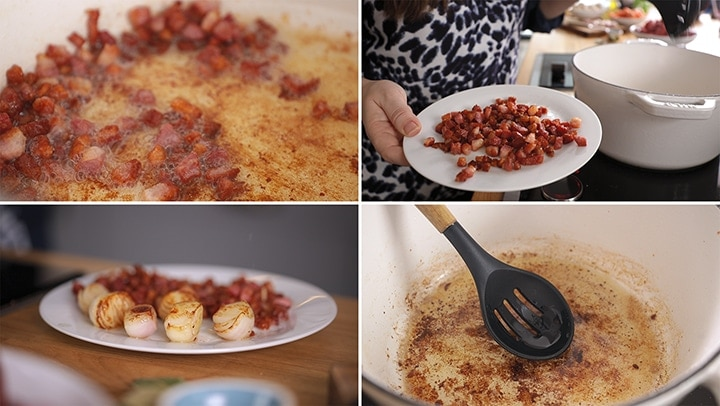 4 image collage showing cooking of pancetta and shallots