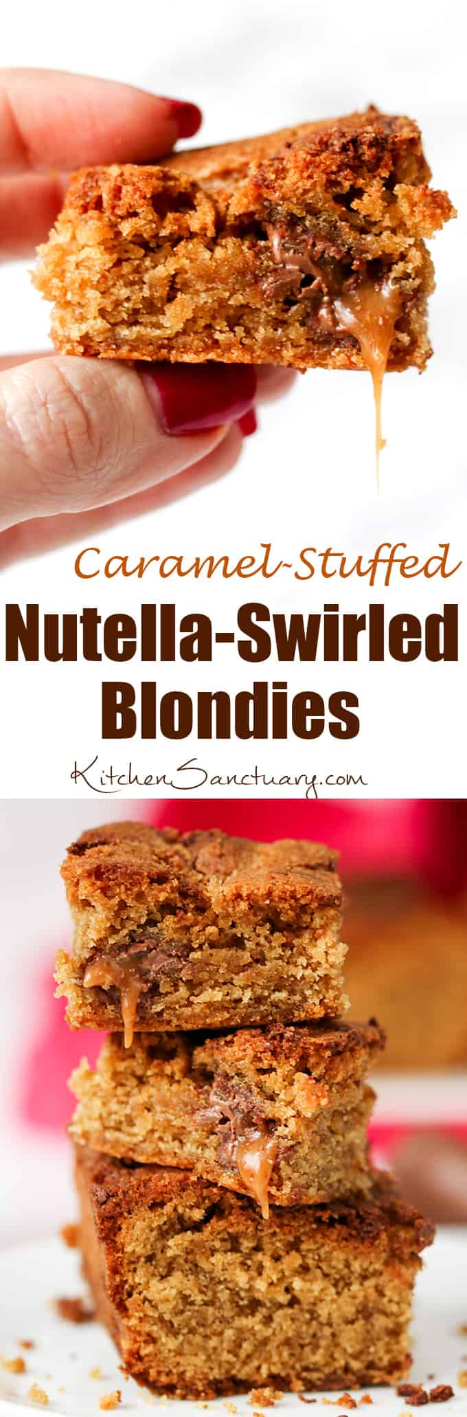 Completely indulgent, these chocolate caramel blondies with swirls of Nutella hit the spot like nothing else!