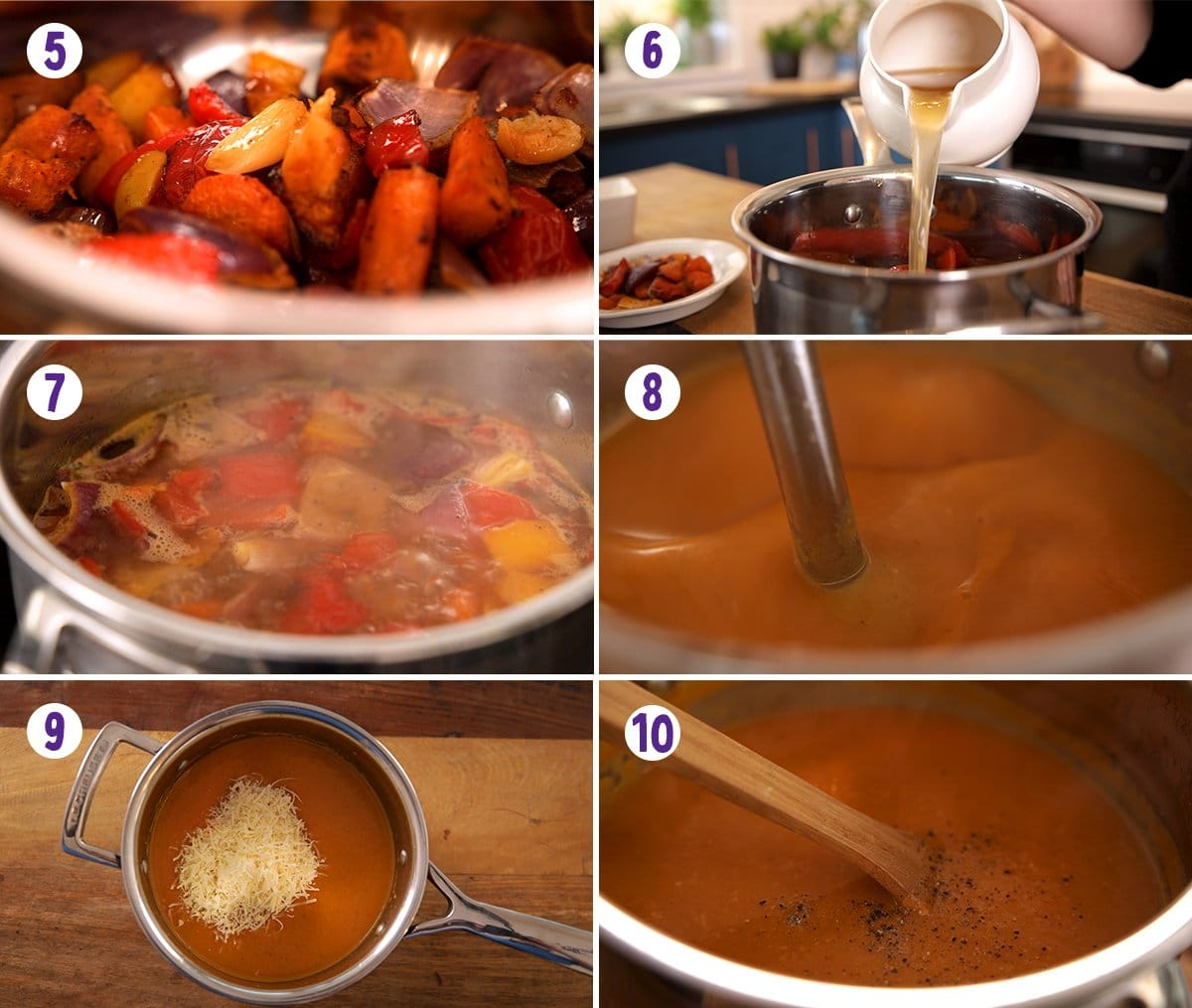 6 image collage showing how to make Roasted vegetable soup