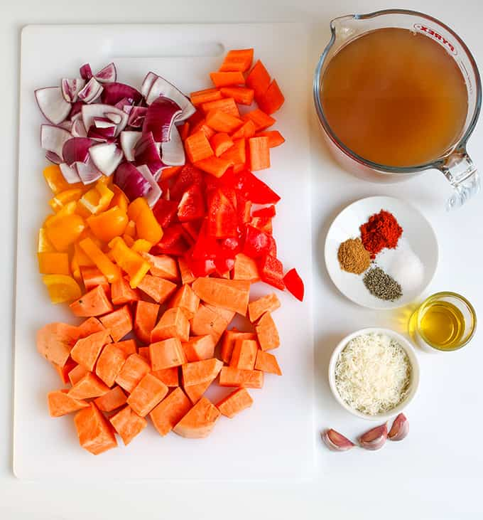 Roasted vegetable and Parmesan Soup Ingredients