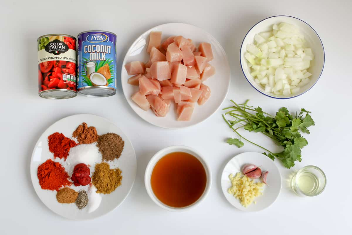 Ingredients for slow cooker chicken curry