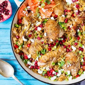 One-Pot Chicken and Cous Cous with feta - enjoy it hot or cold!