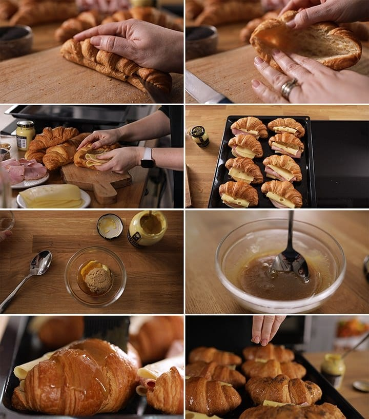 8 image collage of how to make ham and cheese croissants