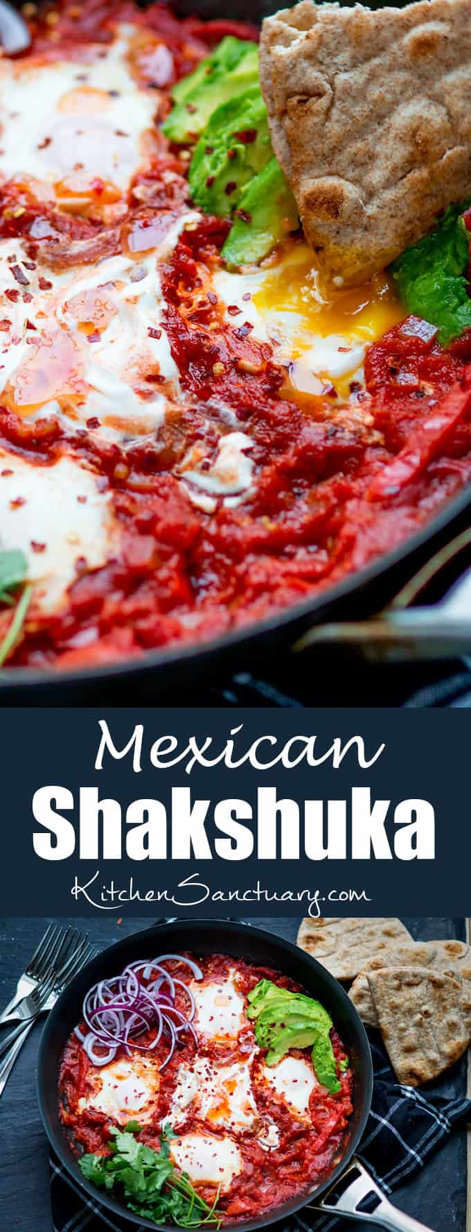Mexican Shakshuka - dippy eggs poached in a rich Cajun tomato sauce.