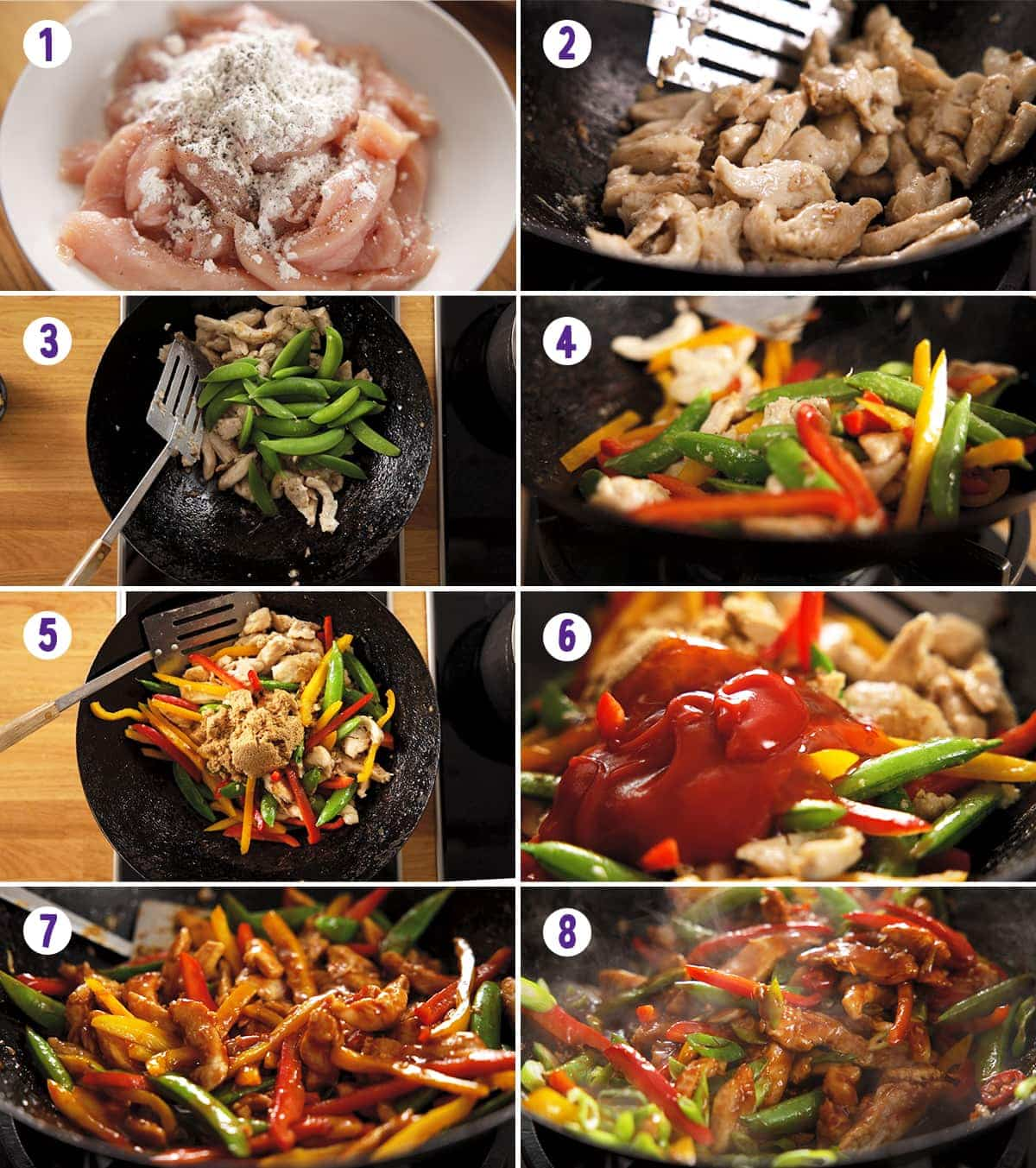 8 image collage showing how to make chicken stir fry