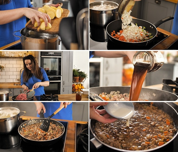 Collage of making shepherds pie - including frying vegetables and mince and making gravy