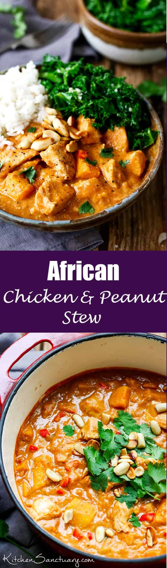 African Chicken & Peanut Stew. A slightly spicy, chicken and peanut stew that can be eaten on its own, or with rice. #African #Recipe #Stew #Homemade