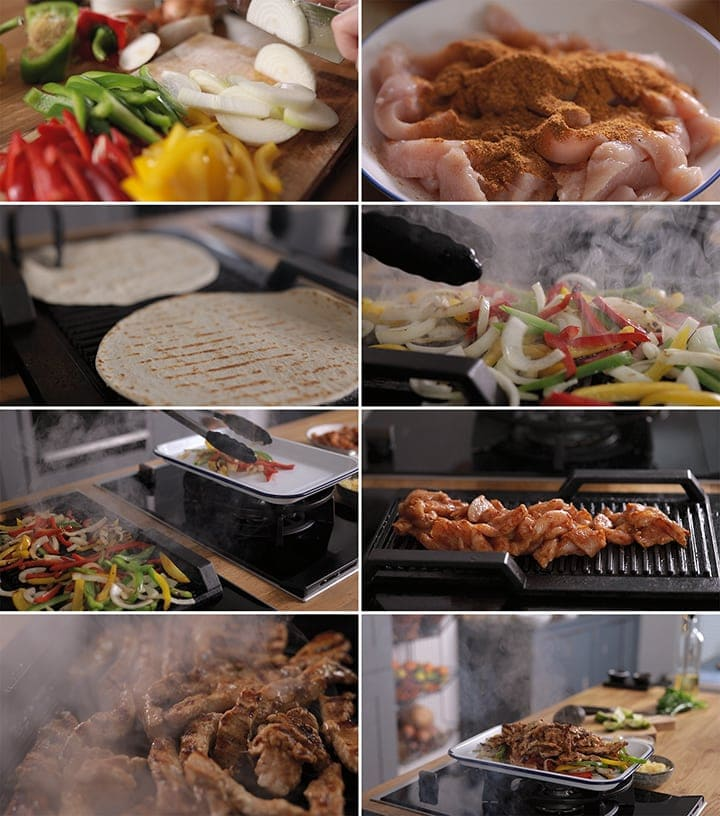 8 image collage showing how to make chicken fajitas