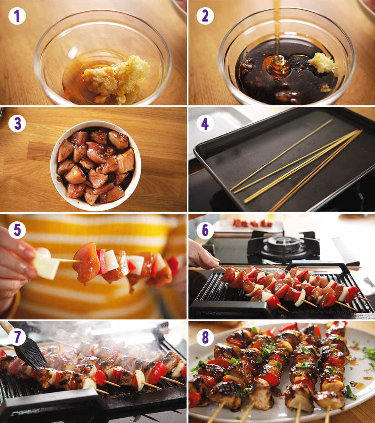 8 image collage showing how to make honey garlic chicken skewers