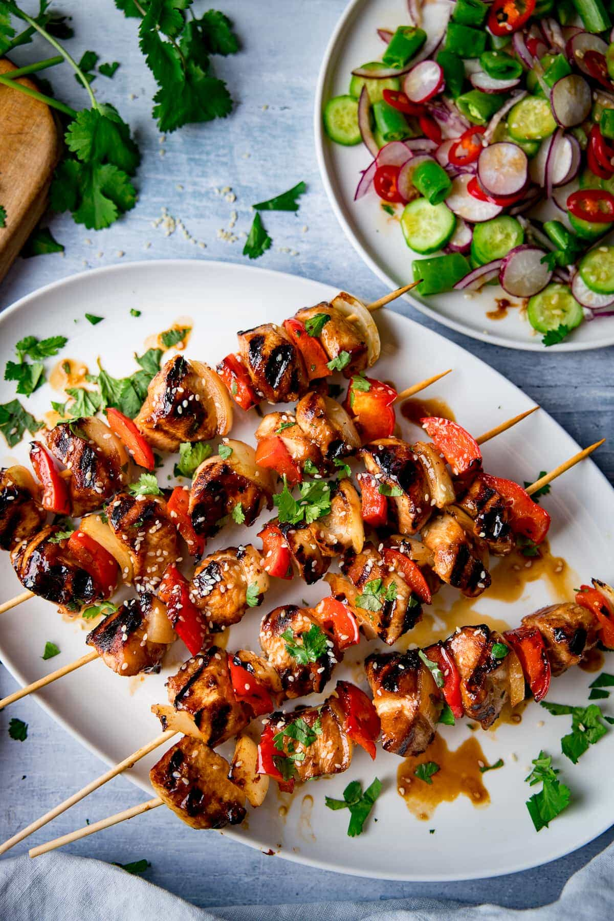 honey garlic chicken skewers on a plate