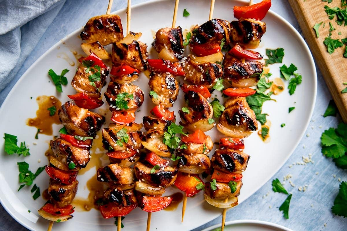 Honey Garlic Chicken Skewers Nicky S Kitchen Sanctuary