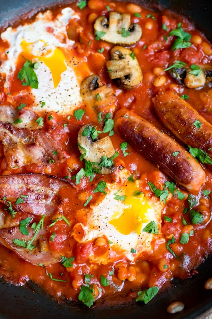One Pan English Breakfast with dippy eggs.