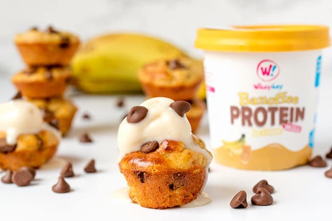 Low Calorie Mini Peanut Butter Banana Protein Muffins. Just 39 calories (1.8g protein) each!