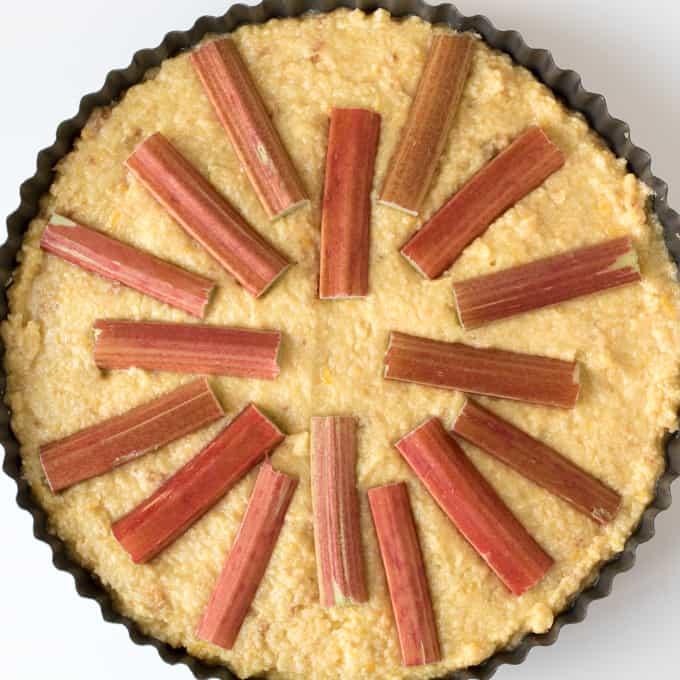 Rhubarb and Amaretti Cake prep