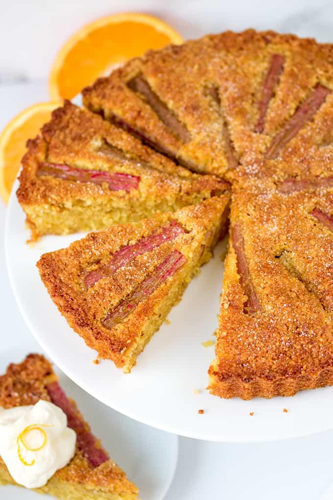 Rhubarb and Amaretti Cake A moist, orange-infused almond cake with juicy rhubarb and amaretto cream.