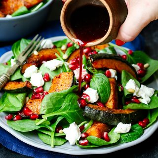 Roasted Kabocha and Goat's Cheese Salad with Pomegranate Dressing