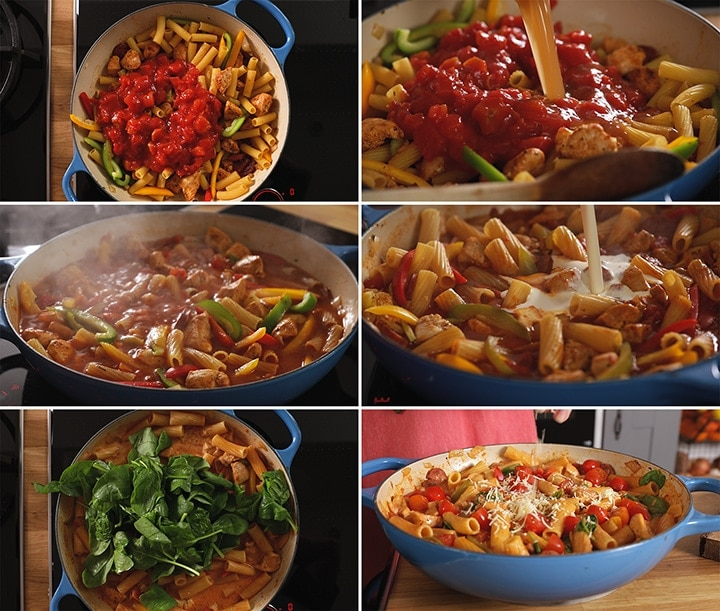6 image collage of final preparation steps for one pot Cajun chicken pasta