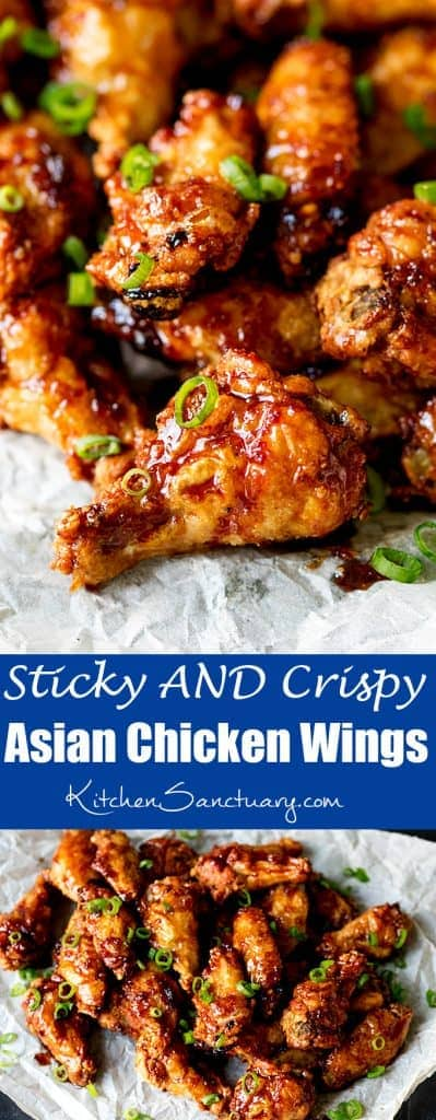 These Asian Chicken Wings are Sticky AND Crispy . The best party food ever!
