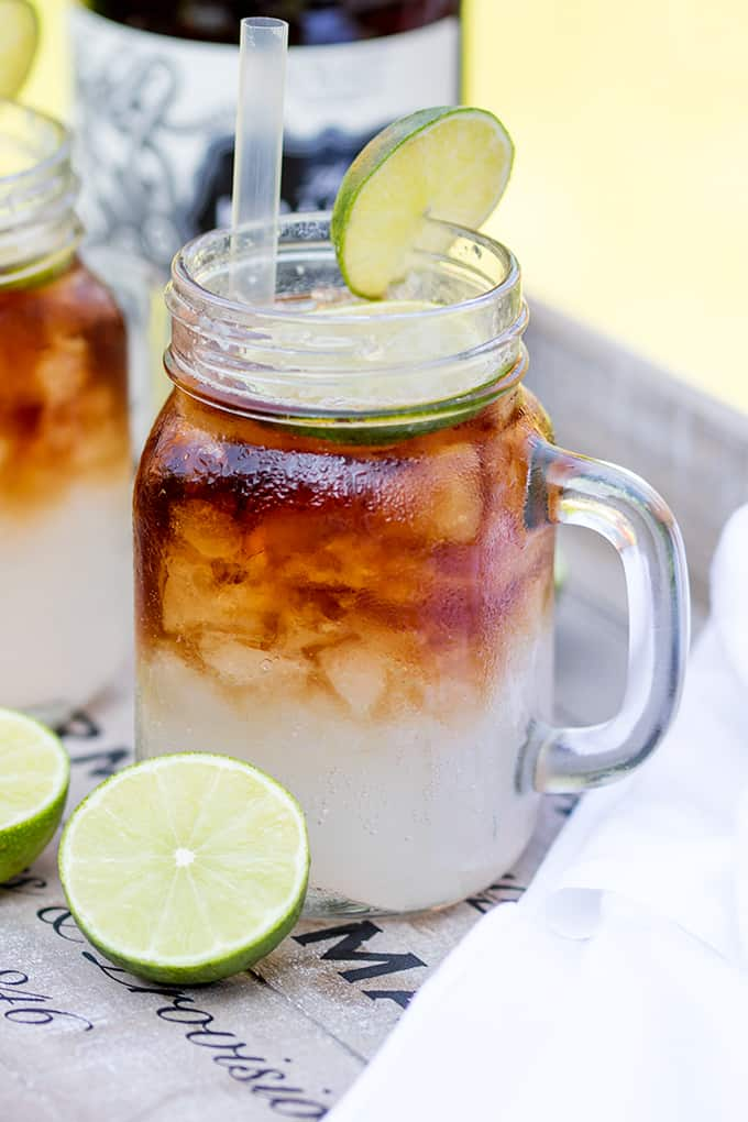 Dark 'N' Stormy cocktail in a mason jar