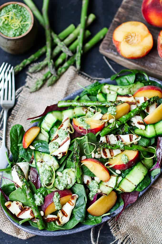 Food 1 2016 6 14 Nectarine Parmesan Salad >> Griddled Halloumi And Peach Salad With Homemade Lemon Pesto